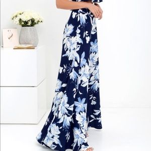 LOVE FOR LANAI NAVY FLORAL TWO-PIECE MAXI DRESS
